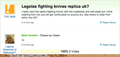 knives,Lord of the Rings,Yahoo Answer Fails