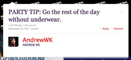 andrew wk,commando,Party,party party party,underwear