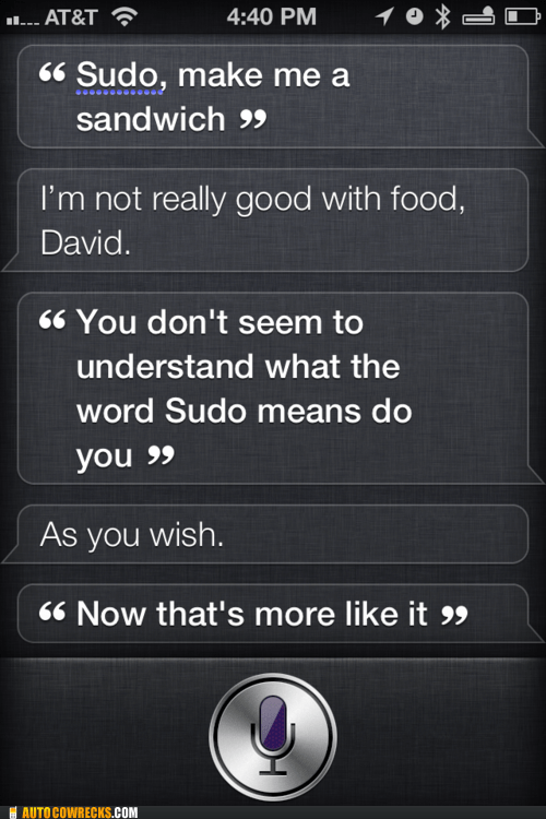 make me a sandwich programming siri sudo - 5920822784