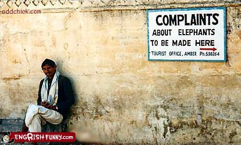 complaints,elephants,funny,india,sign