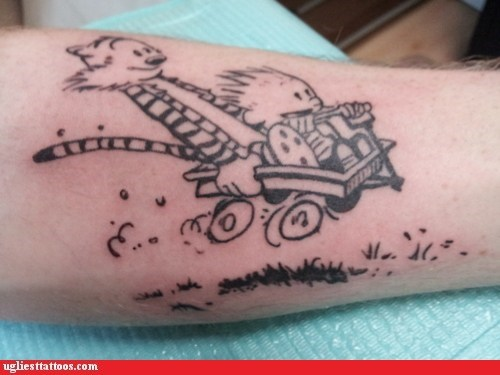 calvin and hobbes,cartoon tattoos,tattoo WIN