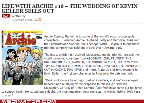 Archie Comics,funny wedding photos,gay marriage,gay rights,kevin keller