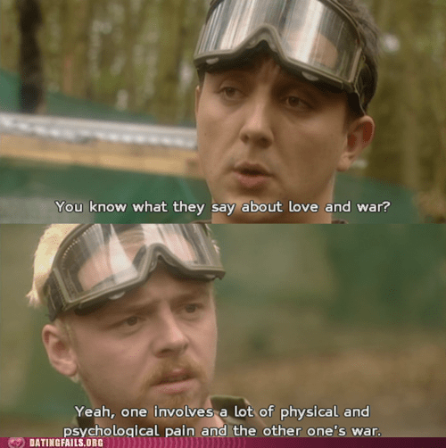 bloody affair,love,love and war,Simon Pegg,war