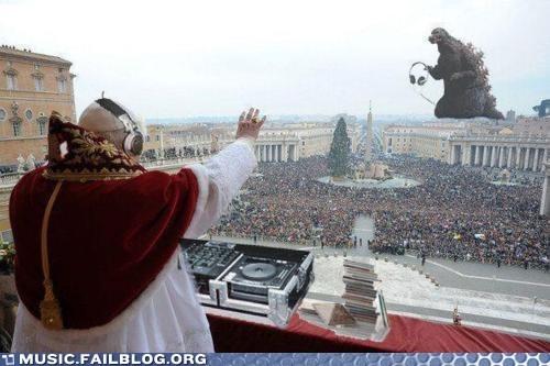 dj,godzilla,pope,vatican