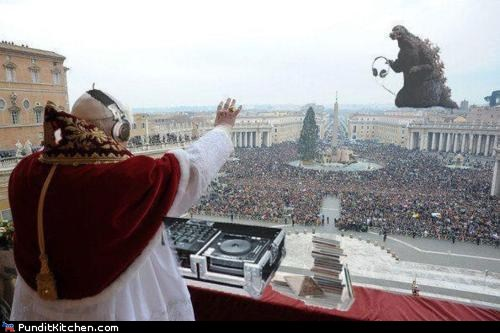 godzilla,political pictures,pope,vatican