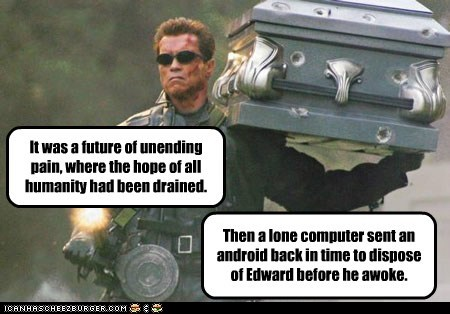It was a future of unending pain, where the hope of all humanity had been drained. Then a lone computer sent an android back in time to dispose of Edward before he awoke.
