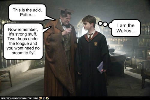 This is the acid, Potter... Now remember, it's strong stuff. Two drops under the tongue and you wont need no broom to fly! I am the Walrus...