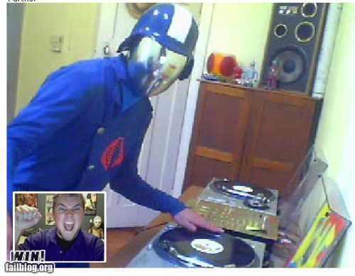 chatroulette,cobra commander,dj,GI Joe,Music,nerdgasm,trolling
