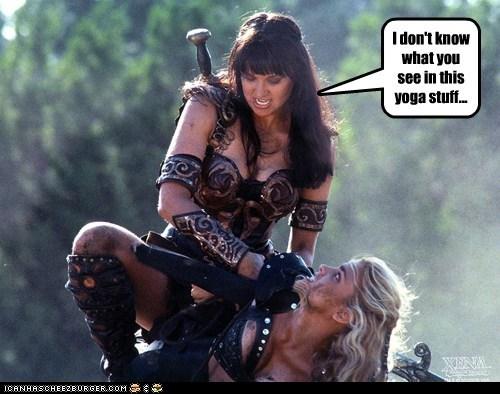 gabrielle Lucy Lawless renee oconnor Xena Xena Warrior Princess yoga - 5922127104