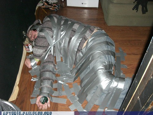 duct tape,floor,Party,passed out,prank