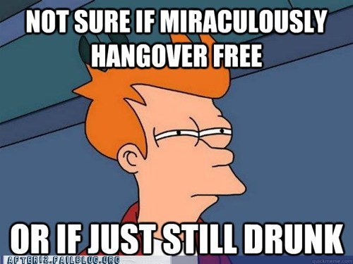 drunk,Futurama Fry,hung over,meme