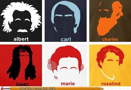 curie,Darwin,defined by their hair,einstein,Newton,sagan,scientists