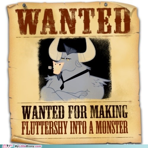 fluttershy iron will minotaur monster new fluttershy TV wanted poster - 5925067264
