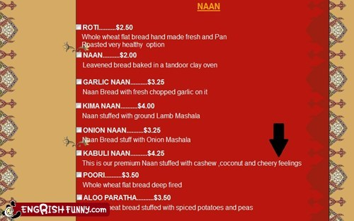 engrish,indian food,menu,naan,restaurant