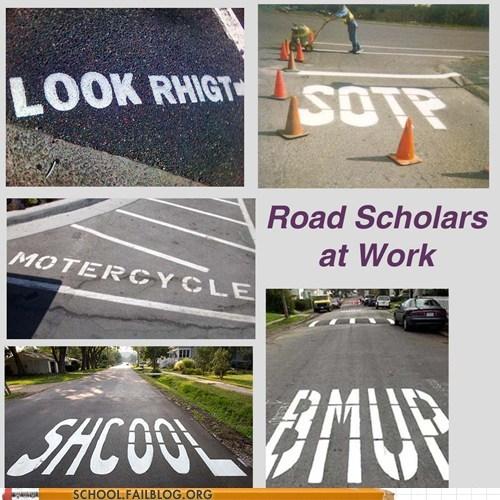 elementary school,road paint,road scholars,spelling