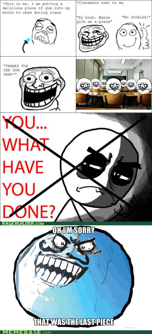 gum,i lied,last,pieces,Rage Comics