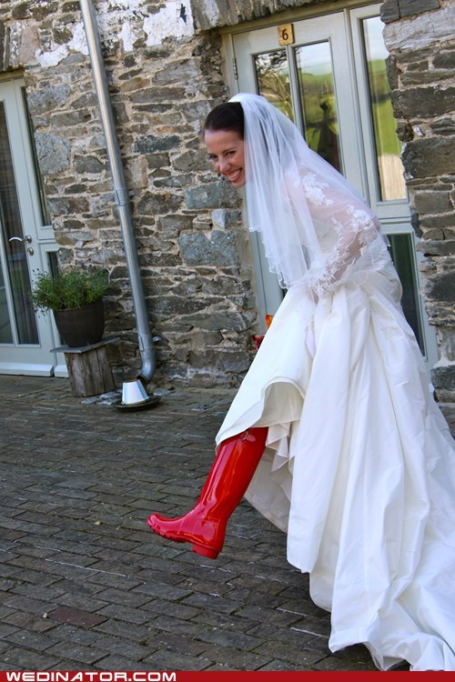 bride funny wedding photos red boots shoes