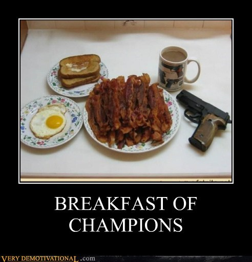 bacon,breakfast of champions,egg,gun,kurt vonnegut,Pure Awesome,toast