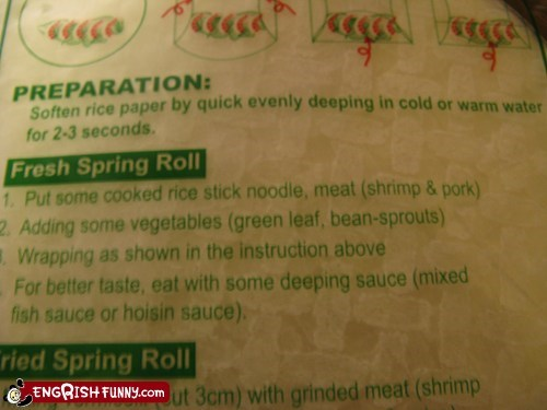 cooking instructions engrish food spring roll - 5931924736