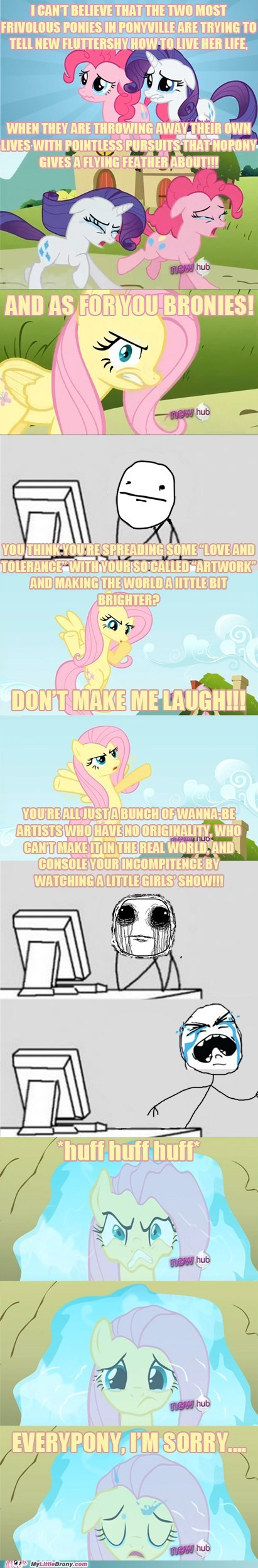 Bronies,comics,fluttershy,im-a-monster,new fluttershy,regret,Sad