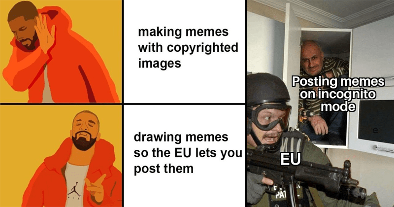 MEmes about copyright overhaul european union, article 13, reddit, r/dankmemes.