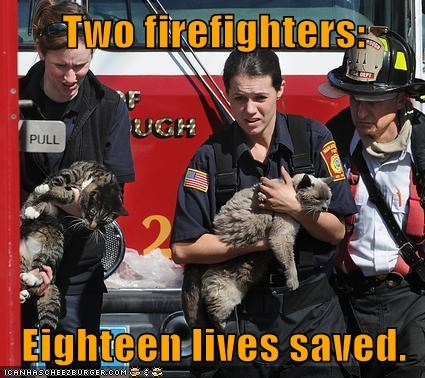 Two firefighters: Eighteen lives saved.
