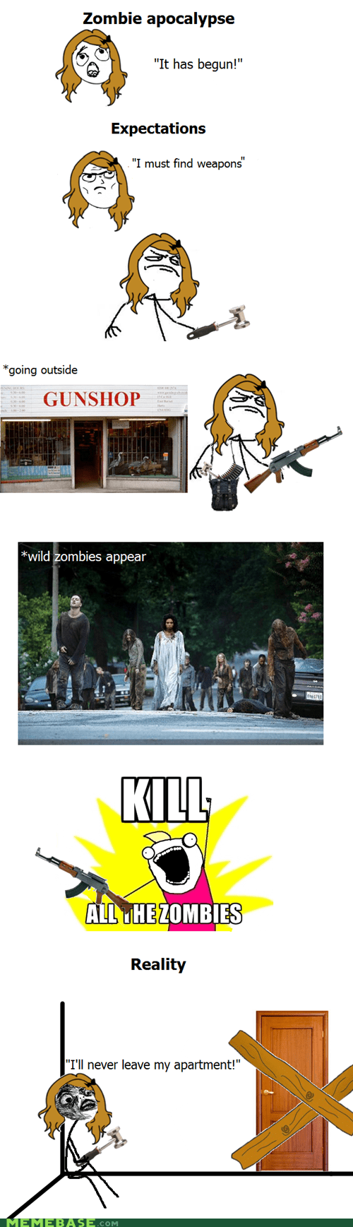 apocalypse,begun,expectations,guns,Rage Comics,zombie