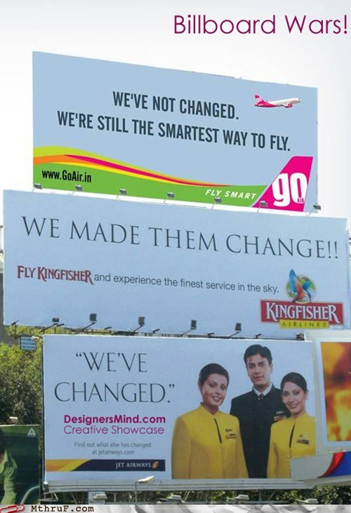 billboard wars,Go Air,india,jet airways,kingfisher,kingfisher airlines
