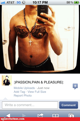 pain,passion,pec tattoos,pleasure,stupidity