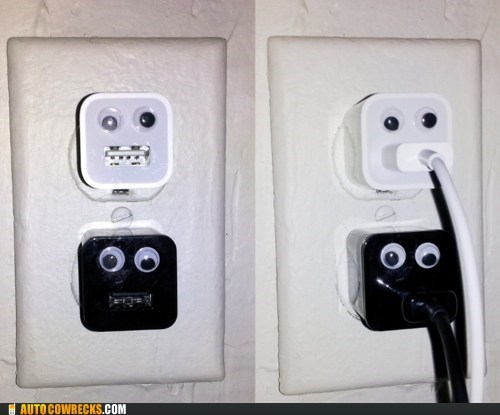 battery,charging,googly eyes,outlet,power