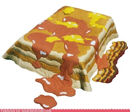 bacon,bedding,blankets,pancakes,rug,sheets