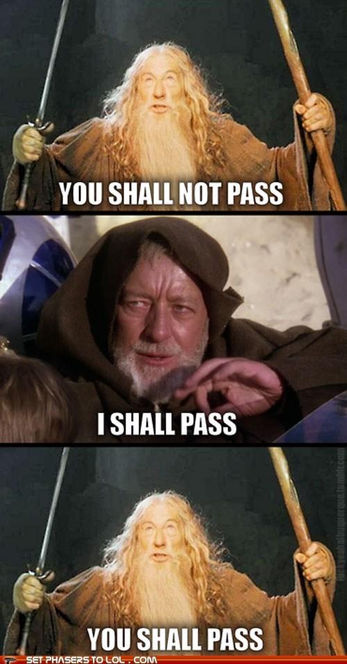 Alec Guinness gandalf ian mckellan jedi mind tricks Lord of the Rings obi-wan kenobi star wars you shall not pass - 5935485696