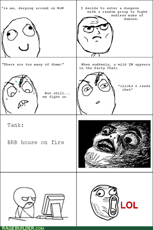 house on fire,Rage Comics,raisin face,video games,WoW