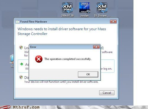 error message,FAIL,popup,successful,windows