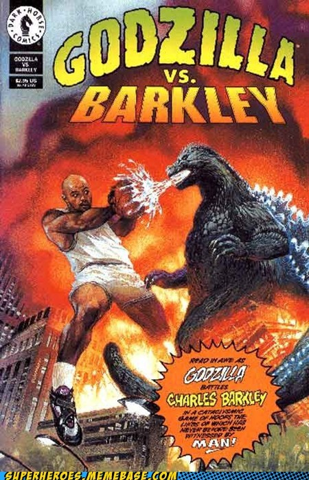 Battle,charles barkley,godzilla,Straight off the Page,wtf