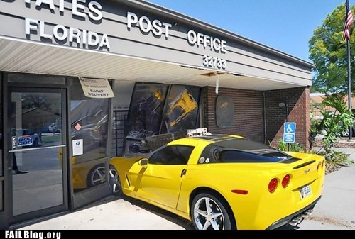 cars corvette crash post office - 5938479872