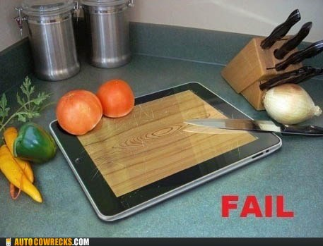 cutting board,ipad,kitchen,knife,scratches