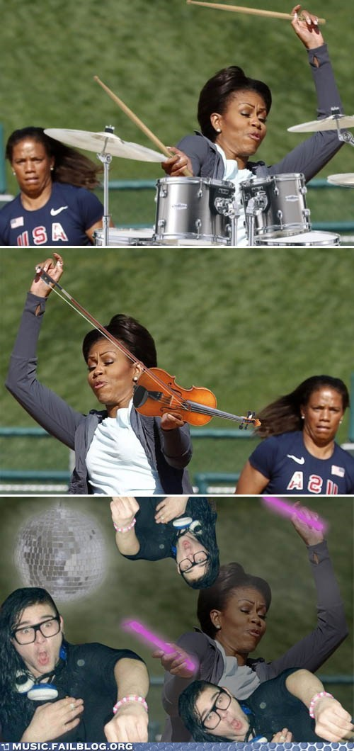 drums,Michelle Obama,rave,skrillex,tennis,violin