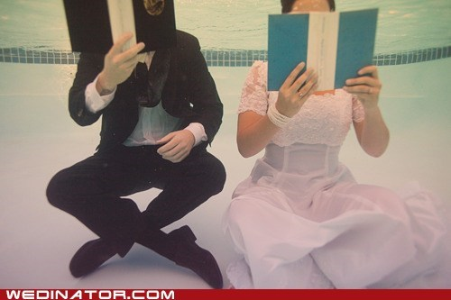 books,bride,funny wedding photos,groom,underwater