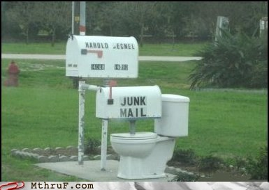 flush good idea junk mail mailbox toilet - 5939344384