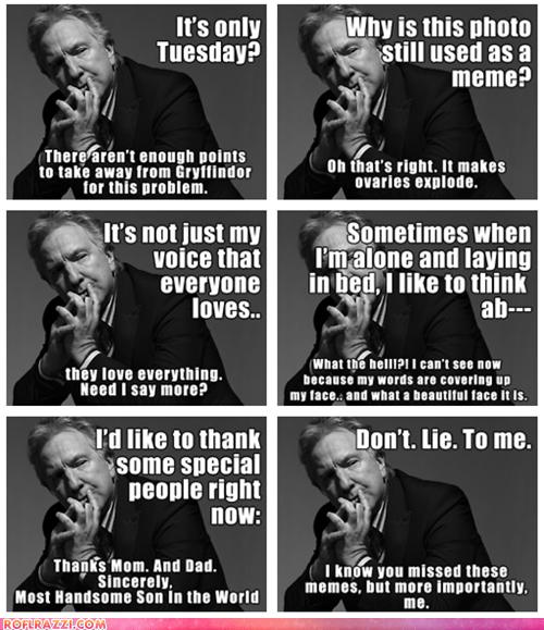 actor Alan Rickman celeb funny meme sexy - 5939365632
