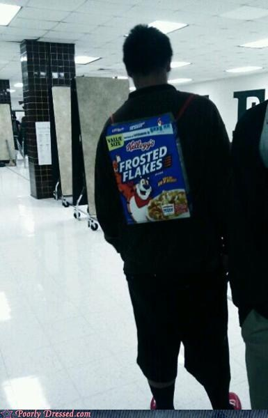 backpack,cereal box,FAIL,frosted flakes