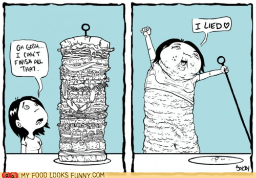 comic gluttony hungry sandwich