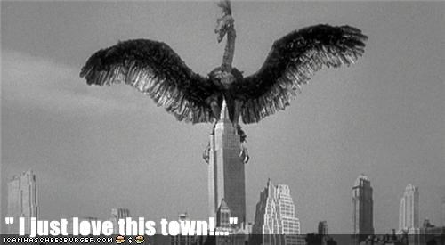 bird,monster,new york,puppet,the giant claw,town