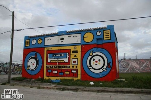 boombox cartoons graffiti hacked irl Street Art - 5940103936