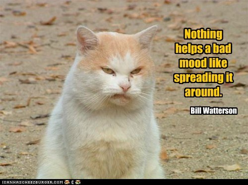 Nothing helps a bad mood like spreading it around. Bill Watterson