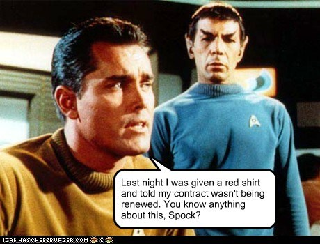 captain pike contract Leonard Nimoy red shirt Spock Star Trek the cage - 5942081280