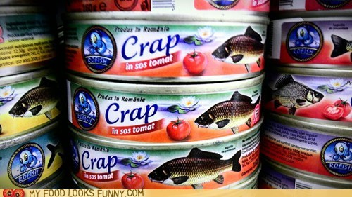 can,carp,crap,fish,label,typo