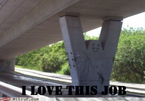 beam happy face highway love my job road roadway