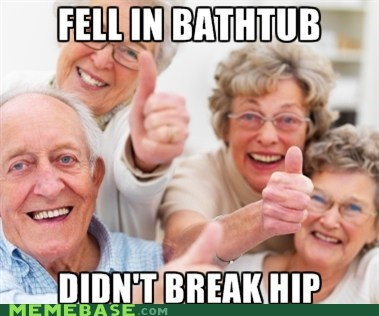 bathtub falling hips old people success kid